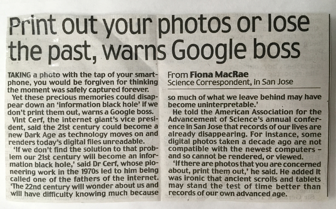 A warning from Google to print your photographs